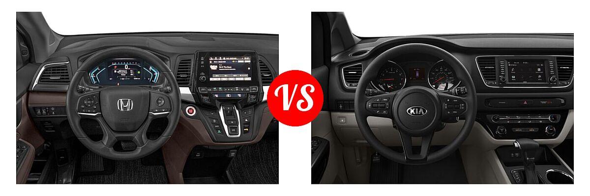 2021 Honda Odyssey Minivan EX vs. 2021 Kia Sedona Minivan LX - Dashboard Comparison