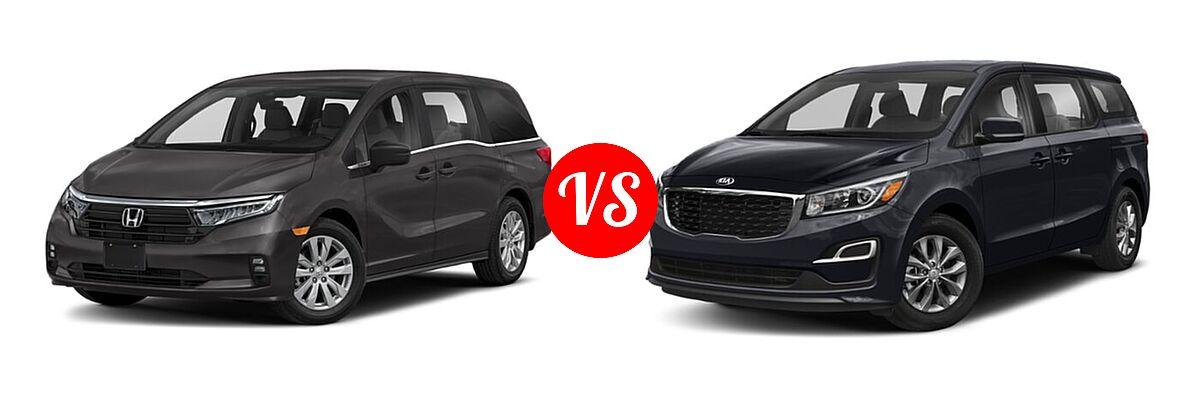 2021 Honda Odyssey Minivan LX vs. 2021 Kia Sedona Minivan LX - Front Left Comparison