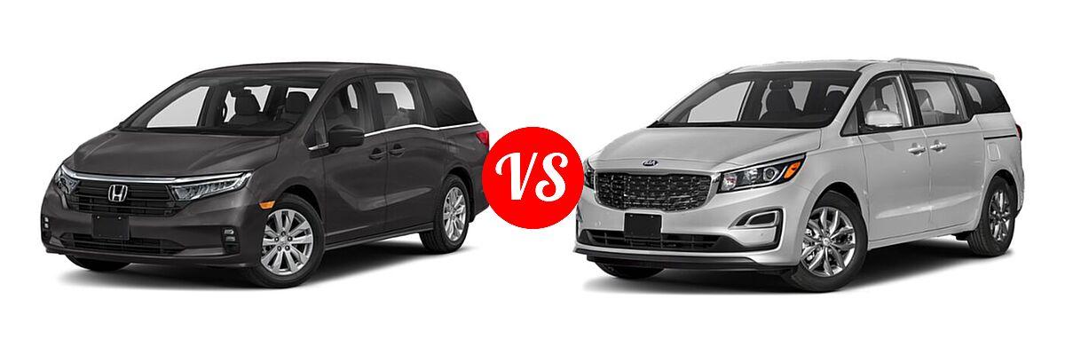 2021 Honda Odyssey Minivan LX vs. 2021 Kia Sedona Minivan EX - Front Left Comparison