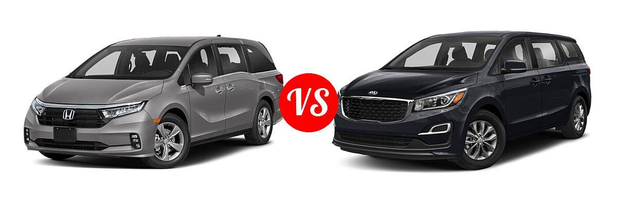 2021 Honda Odyssey Minivan EX vs. 2021 Kia Sedona Minivan LX - Front Left Comparison