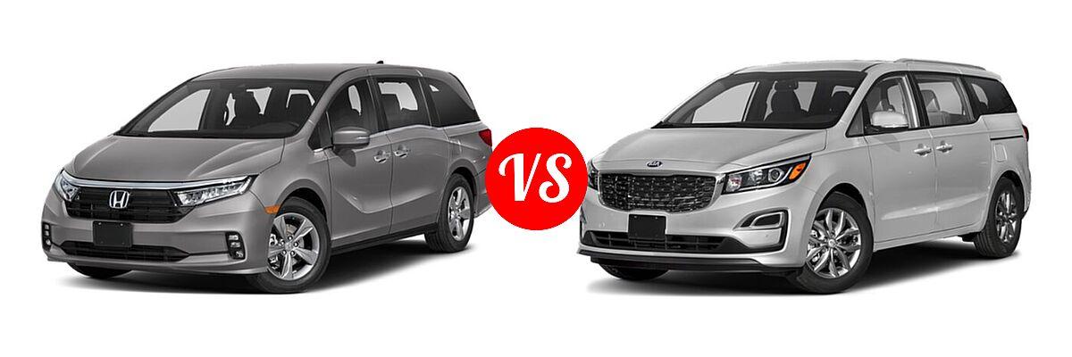 2021 Honda Odyssey Minivan EX vs. 2021 Kia Sedona Minivan EX - Front Left Comparison