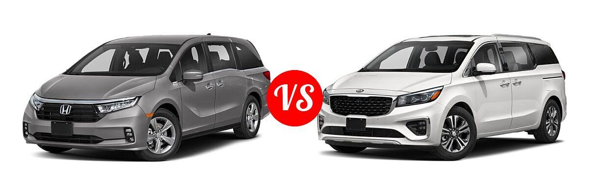 2021 Honda Odyssey Minivan EX vs. 2021 Kia Sedona Minivan SX - Front Left Comparison