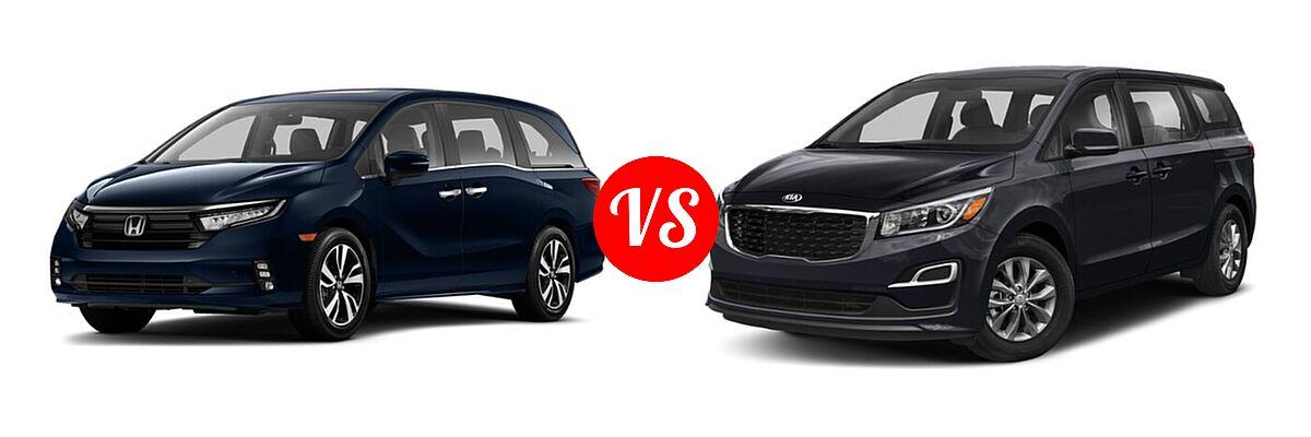 2021 Honda Odyssey Minivan Touring vs. 2021 Kia Sedona Minivan LX - Front Left Comparison