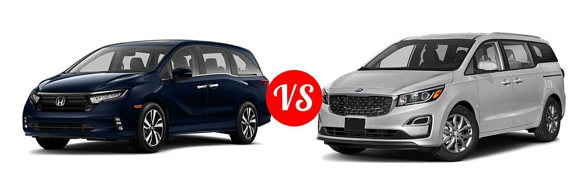 2021 Honda Odyssey Minivan Touring vs. 2021 Kia Sedona Minivan EX - Front Left Comparison