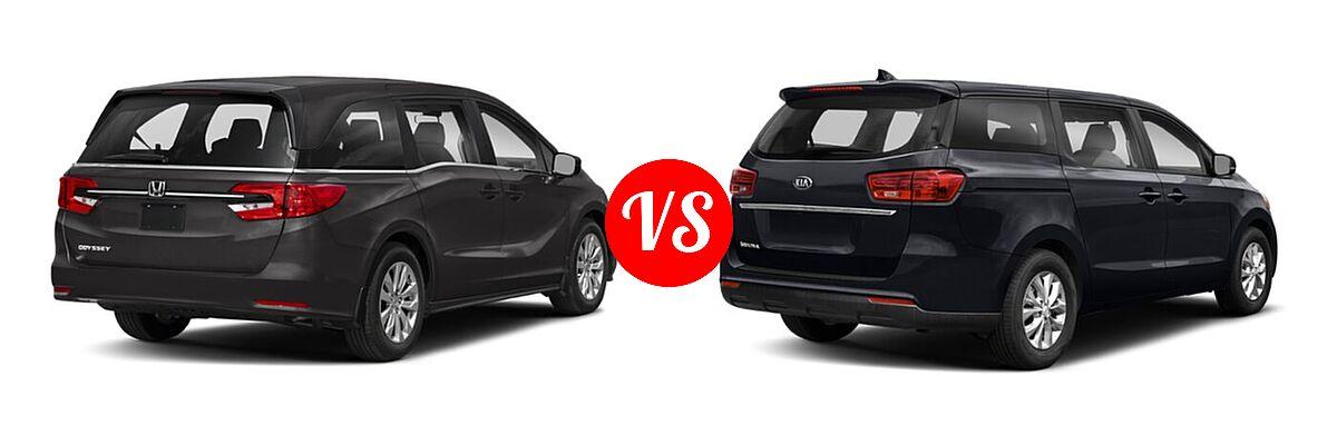 2021 Honda Odyssey Minivan LX vs. 2021 Kia Sedona Minivan LX - Rear Right Comparison