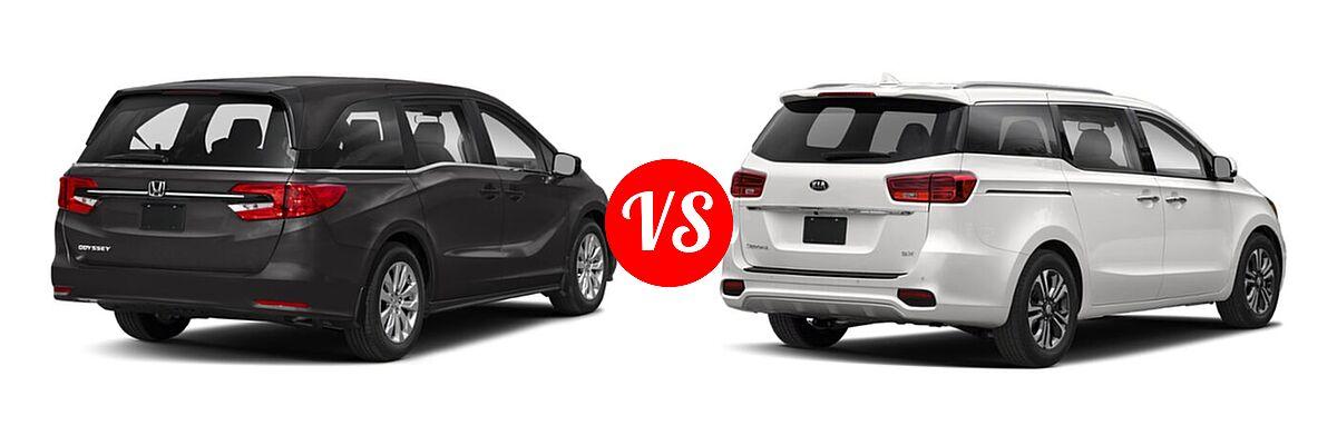 2021 Honda Odyssey Minivan LX vs. 2021 Kia Sedona Minivan SX - Rear Right Comparison