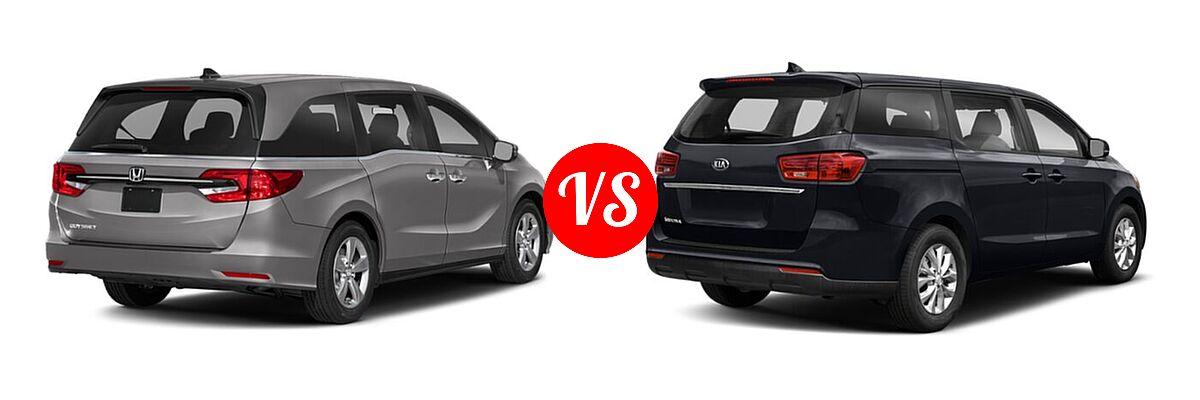 2021 Honda Odyssey Minivan EX vs. 2021 Kia Sedona Minivan LX - Rear Right Comparison
