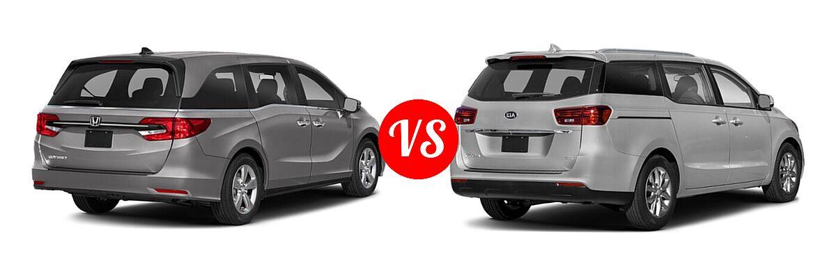 2021 Honda Odyssey Minivan EX vs. 2021 Kia Sedona Minivan EX - Rear Right Comparison