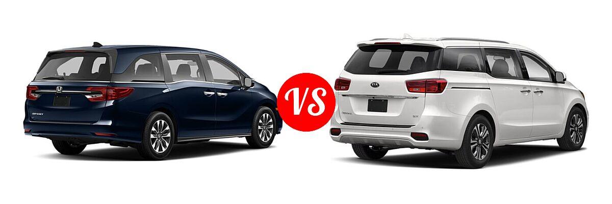 2021 Honda Odyssey Minivan EX-L vs. 2021 Kia Sedona Minivan SX - Rear Right Comparison