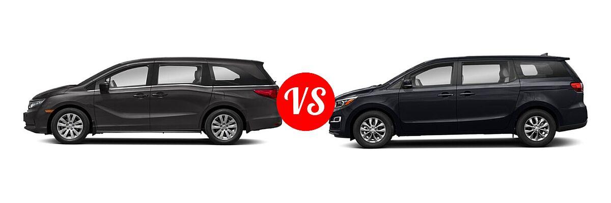2021 Honda Odyssey Minivan LX vs. 2021 Kia Sedona Minivan LX - Side Comparison