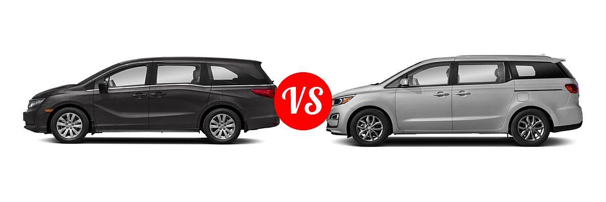 2021 Honda Odyssey Minivan LX vs. 2021 Kia Sedona Minivan EX - Side Comparison