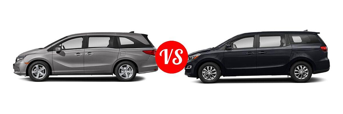2021 Honda Odyssey Minivan EX vs. 2021 Kia Sedona Minivan LX - Side Comparison