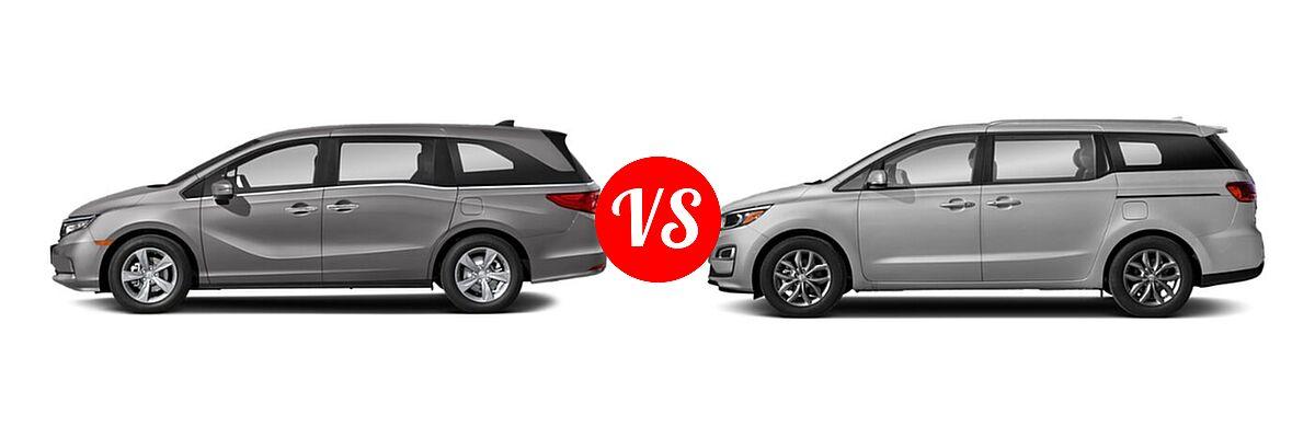 2021 Honda Odyssey Minivan EX vs. 2021 Kia Sedona Minivan EX - Side Comparison