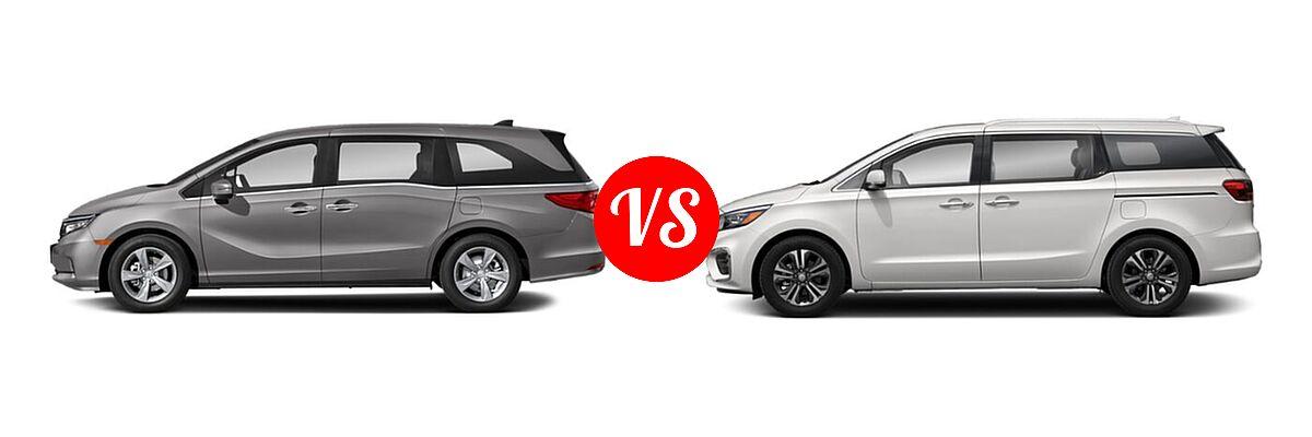 2021 Honda Odyssey Minivan EX vs. 2021 Kia Sedona Minivan SX - Side Comparison