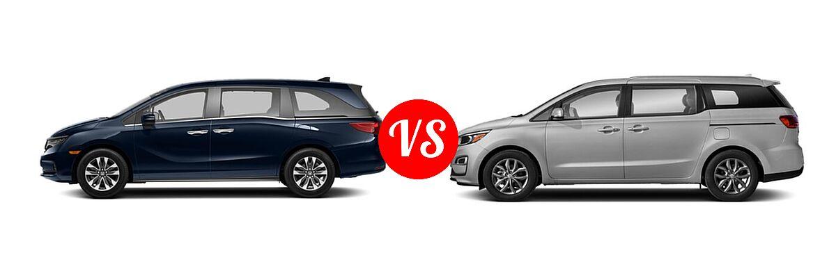 2021 Honda Odyssey Minivan EX-L vs. 2021 Kia Sedona Minivan EX - Side Comparison