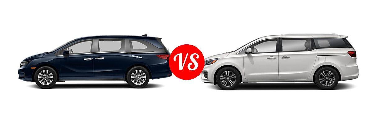 2021 Honda Odyssey Minivan EX-L vs. 2021 Kia Sedona Minivan SX - Side Comparison