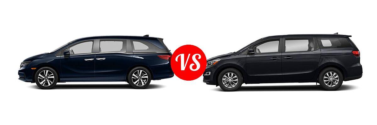 2021 Honda Odyssey Minivan Touring vs. 2021 Kia Sedona Minivan LX - Side Comparison