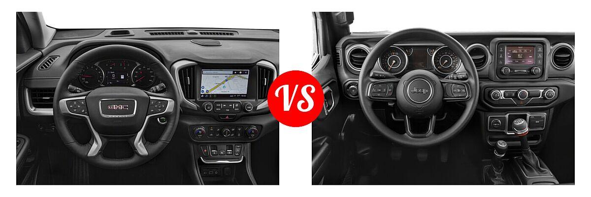 2021 GMC Terrain SUV  vs. 2021 Jeep Wrangler SUV 80th Anniversary / Freedom / Islander / Sport / Sport S / Willys / Willys Sport - Dashboard Comparison