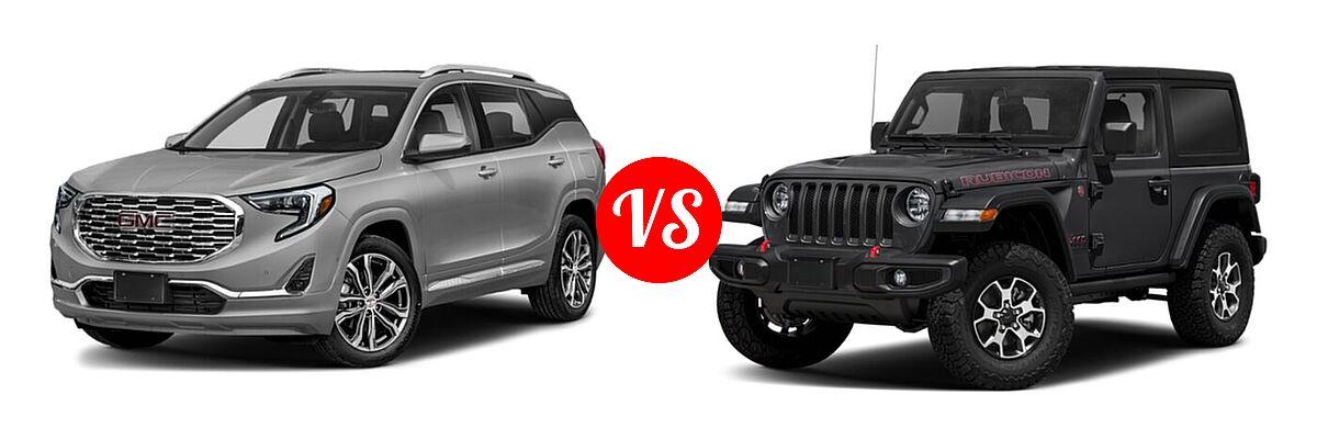 2021 GMC Terrain SUV  vs. 2021 Jeep Wrangler SUV Rubicon - Front Left Comparison