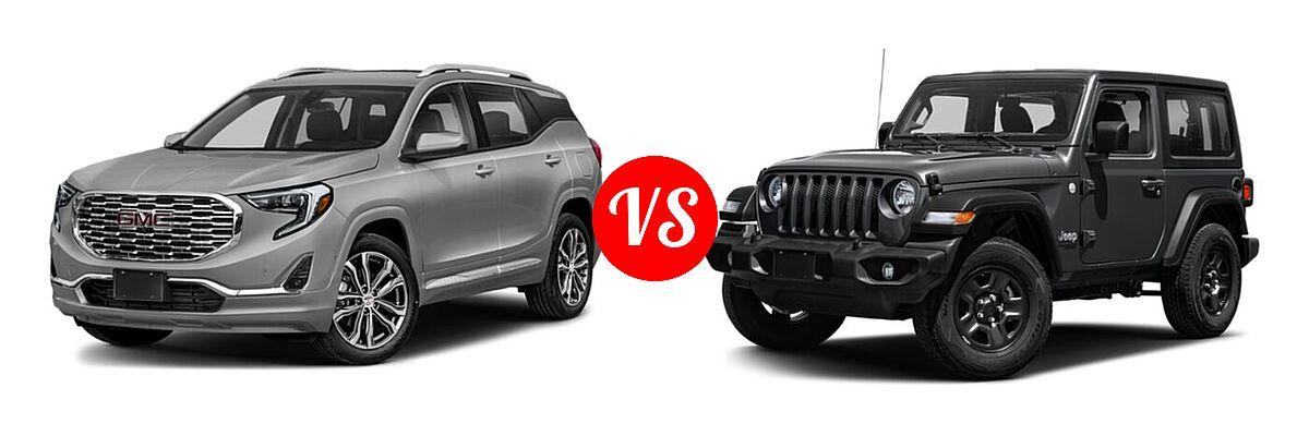2021 GMC Terrain SUV  vs. 2021 Jeep Wrangler SUV 80th Anniversary / Freedom / Islander / Sport / Sport S / Willys / Willys Sport - Front Left Comparison