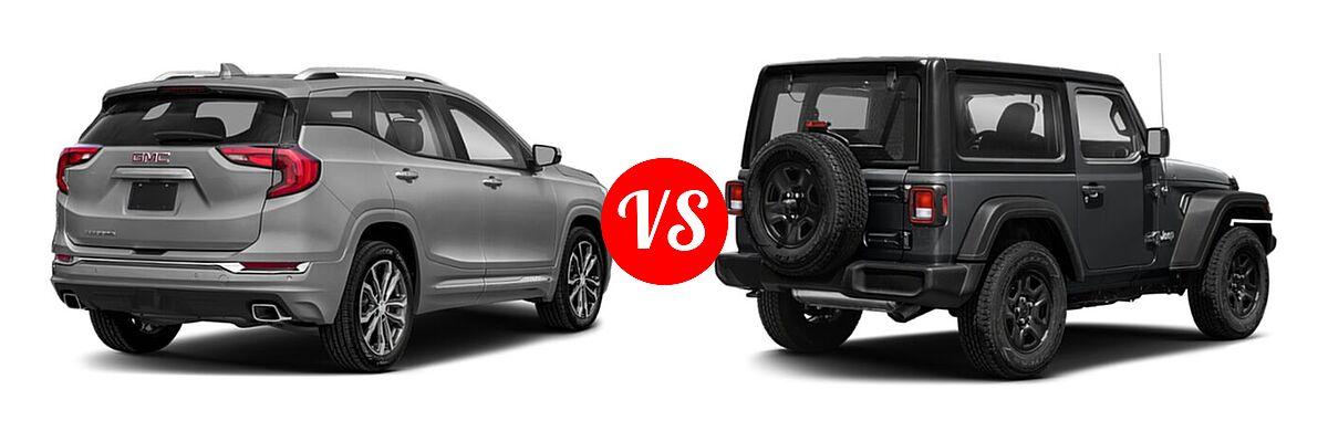 2021 GMC Terrain SUV  vs. 2021 Jeep Wrangler SUV 80th Anniversary / Freedom / Islander / Sport / Sport S / Willys / Willys Sport - Rear Right Comparison