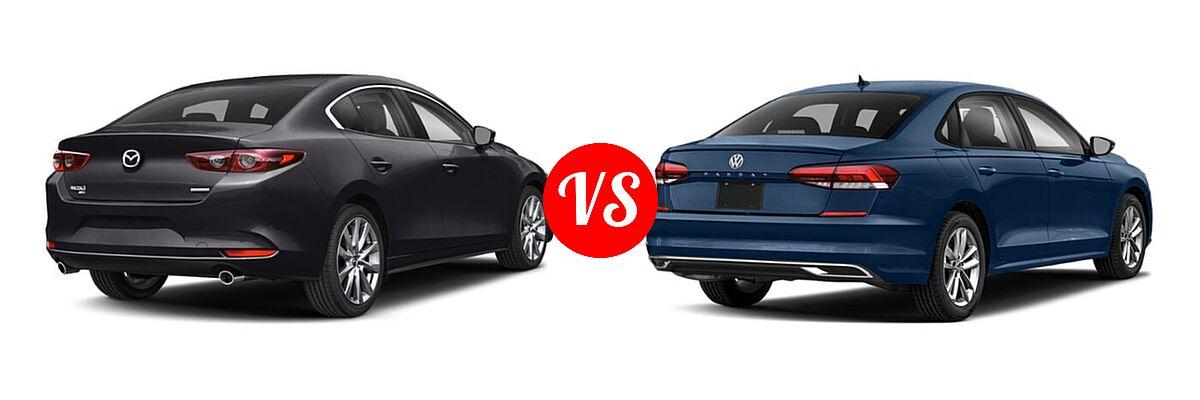 2021 Mazda 2 Sedan Select vs. 2021 Volkswagen Passat Sedan 2.0T R-Line - Rear Right Comparison
