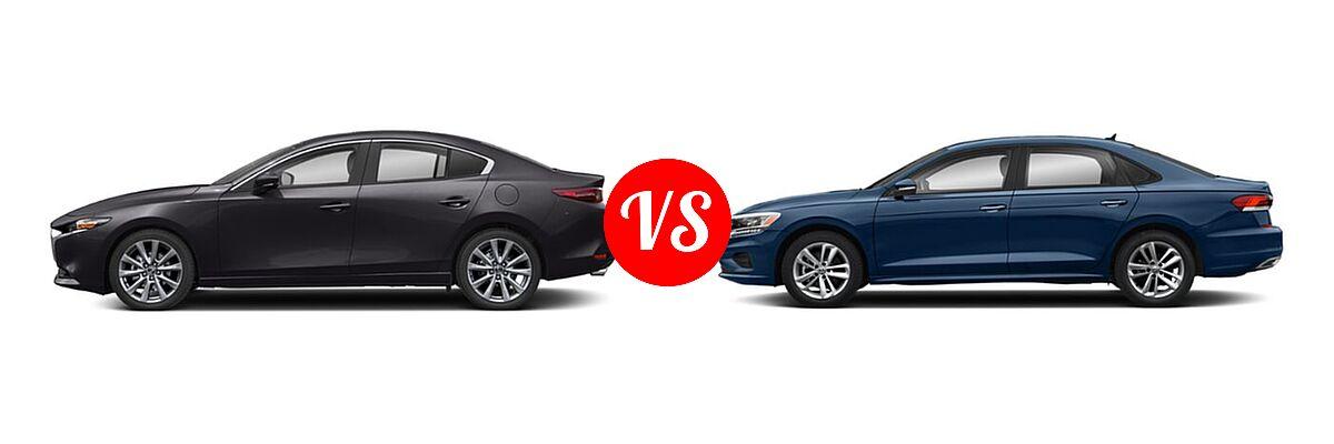 2021 Mazda 2 Sedan Select vs. 2021 Volkswagen Passat Sedan 2.0T S / 2.0T SE - Side Comparison