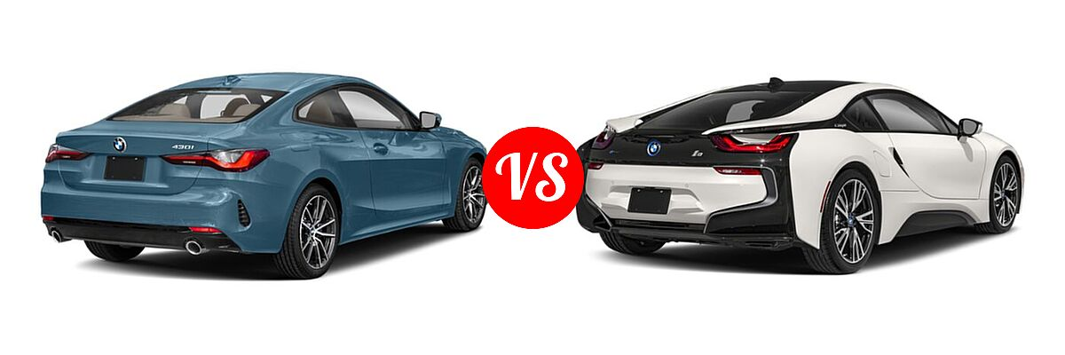 2021 BMW 4 Series Coupe 430i / 430i xDrive vs. 2019 BMW i8 Coupe PHEV Coupe - Rear Right Comparison
