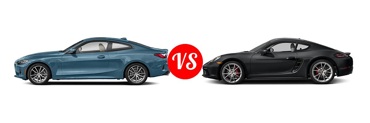 2021 BMW 4 Series Coupe 430i / 430i xDrive vs. 2018 Porsche 718 Cayman Coupe S - Side Comparison