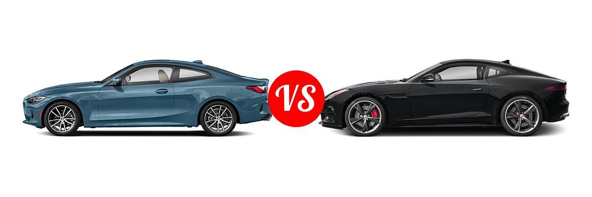 2021 BMW 4 Series Coupe 430i / 430i xDrive vs. 2018 Jaguar F-TYPE Coupe R-Dynamic - Side Comparison