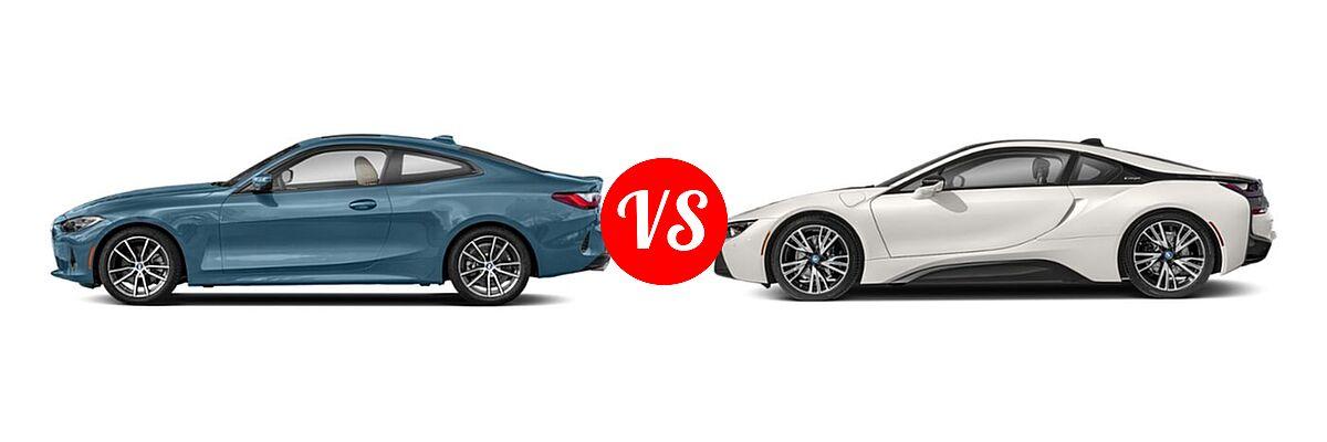 2021 BMW 4 Series Coupe 430i / 430i xDrive vs. 2019 BMW i8 Coupe PHEV Coupe - Side Comparison