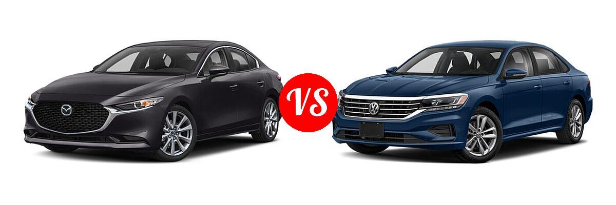 2021 Mazda 2 Sedan Select vs. 2021 Volkswagen Passat Sedan 2.0T S / 2.0T SE - Front Left Comparison
