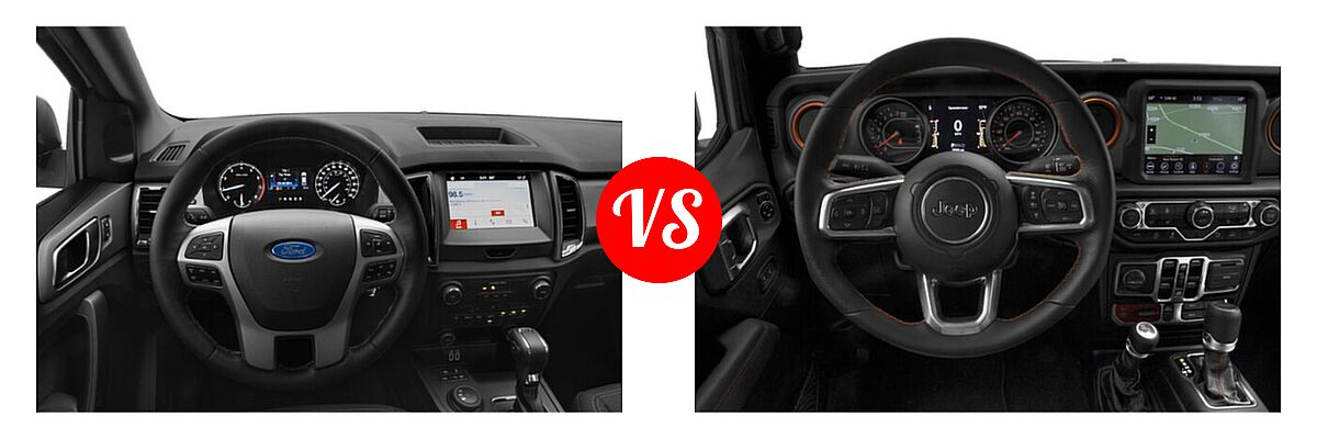 2021 Ford Ranger SuperCab Pickup XLT vs. 2021 Jeep Gladiator Pickup Mojave - Dashboard Comparison