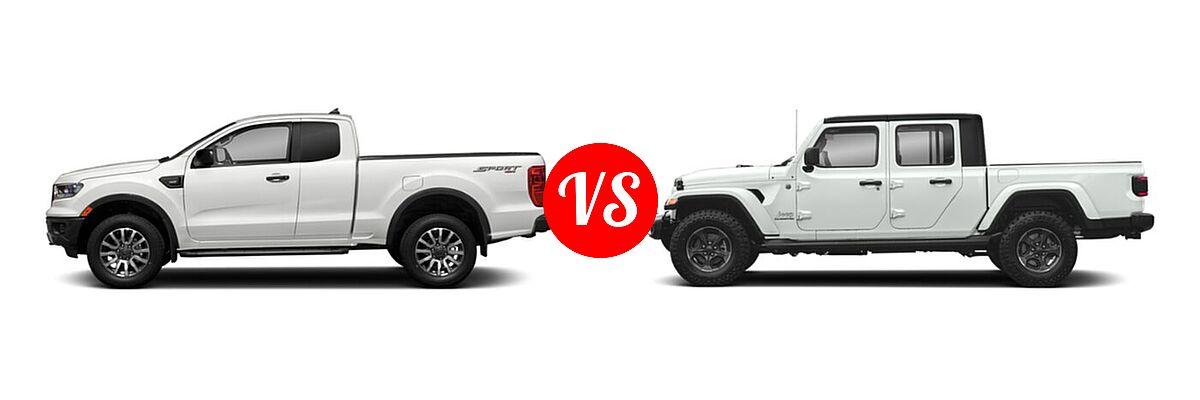 2021 Ford Ranger SuperCab Pickup XLT vs. 2021 Jeep Gladiator Pickup High Altitude / Overland - Side Comparison