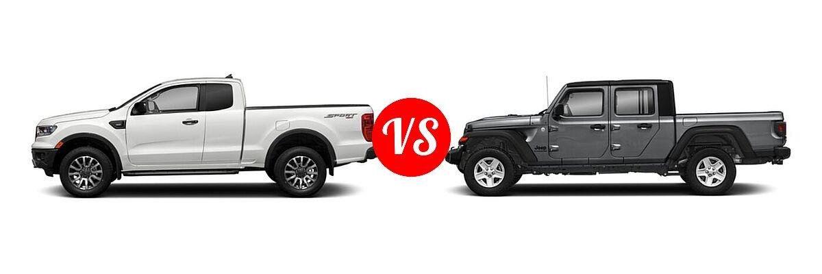 2021 Ford Ranger SuperCab Pickup XLT vs. 2021 Jeep Gladiator Pickup Freedom - Side Comparison