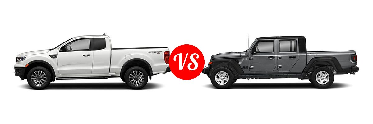 2021 Ford Ranger SuperCab Pickup XLT vs. 2021 Jeep Gladiator Pickup 80th Anniversary / California Edition / Sport / Sport S / Willys / Willys Sport - Side Comparison