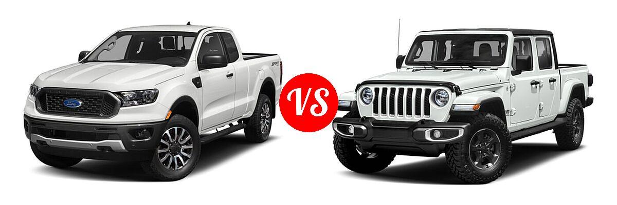 2021 Ford Ranger SuperCab Pickup XLT vs. 2021 Jeep Gladiator Pickup High Altitude / Overland - Front Left Comparison
