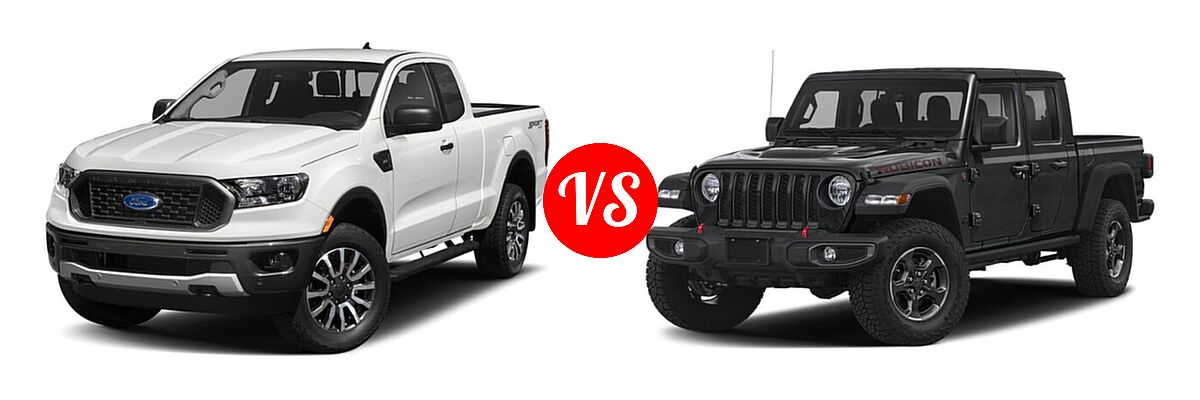 2021 Ford Ranger SuperCab Pickup XLT vs. 2021 Jeep Gladiator Pickup Rubicon - Front Left Comparison