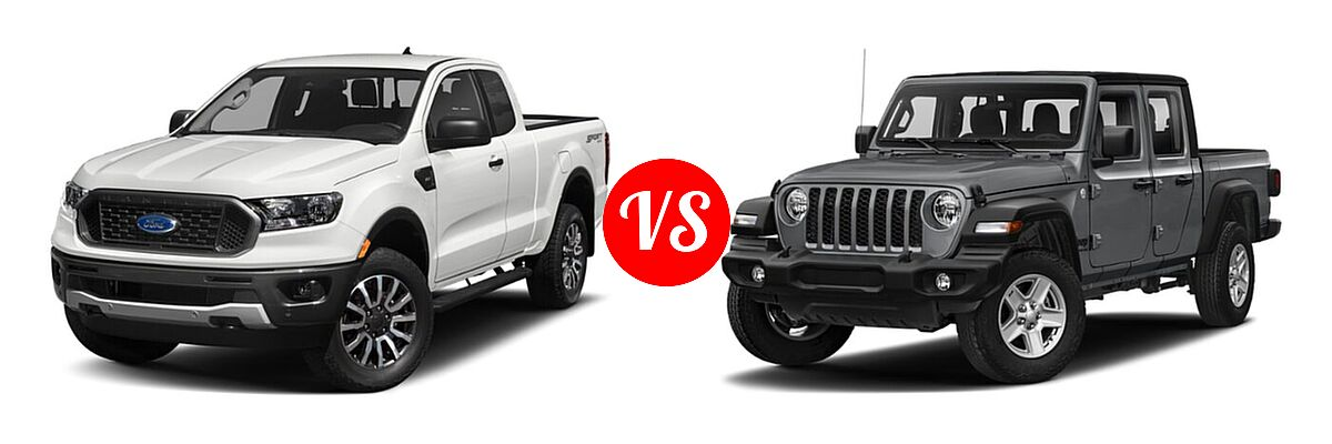 2021 Ford Ranger SuperCab Pickup XLT vs. 2021 Jeep Gladiator Pickup 80th Anniversary / California Edition / Sport / Sport S / Willys / Willys Sport - Front Left Comparison