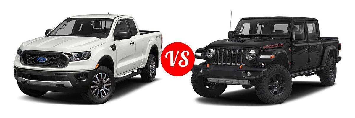2021 Ford Ranger SuperCab Pickup XLT vs. 2021 Jeep Gladiator Pickup Mojave - Front Left Comparison