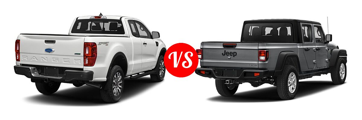 2021 Ford Ranger SuperCab Pickup XLT vs. 2021 Jeep Gladiator Pickup 80th Anniversary / California Edition / Sport / Sport S / Willys / Willys Sport - Rear Right Comparison