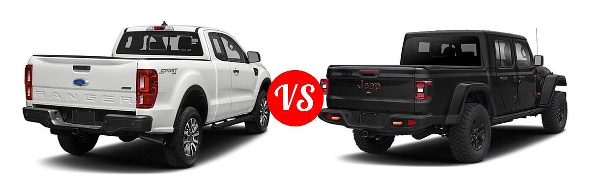 2021 Ford Ranger SuperCab Pickup XLT vs. 2021 Jeep Gladiator Pickup Mojave - Rear Right Comparison