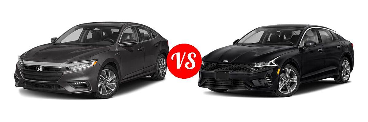 2021 Honda Insight Sedan Hybrid Touring vs. 2021 Kia K5 Sedan EX - Front Left Comparison