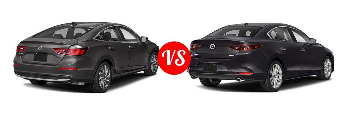 2021 Honda Insight Sedan Hybrid Touring vs. 2021 Mazda 2 Sedan Preferred - Rear Right Comparison