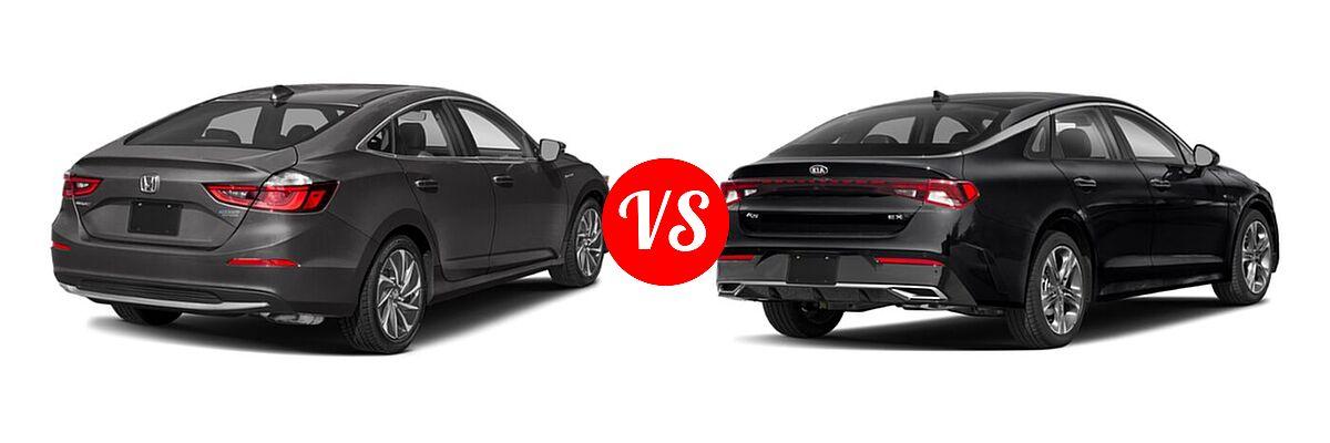 2021 Honda Insight Sedan Hybrid Touring vs. 2021 Kia K5 Sedan EX - Rear Right Comparison