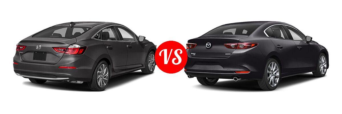 2021 Honda Insight Sedan Hybrid Touring vs. 2021 Mazda 2 Sedan Select - Rear Right Comparison
