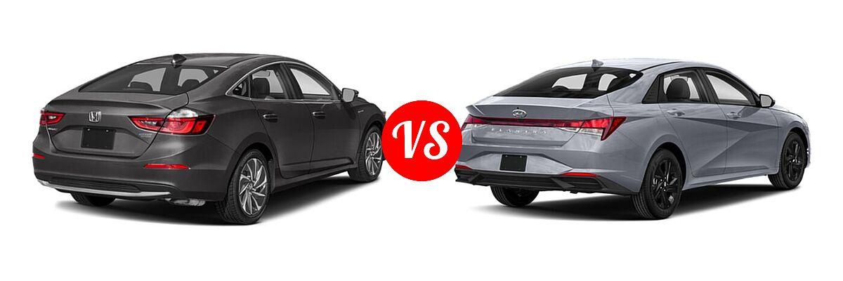 2021 Honda Insight Sedan Hybrid Touring vs. 2021 Hyundai Elantra Sedan  - Rear Right Comparison