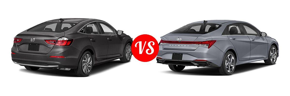 2021 Honda Insight Sedan Hybrid Touring vs. 2021 Hyundai Elantra Sedan N Line - Rear Right Comparison