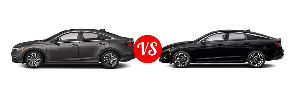 2021 Honda Insight Sedan Hybrid Touring vs. 2021 Kia K5 Sedan GT-Line - Side Comparison