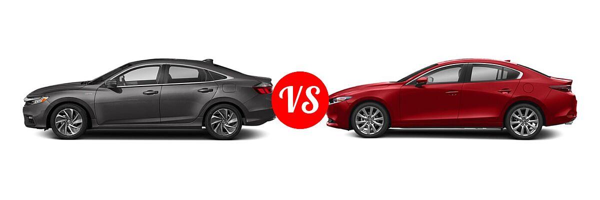 2021 Honda Insight Sedan Hybrid Touring vs. 2021 Mazda 2 Sedan Preferred - Side Comparison